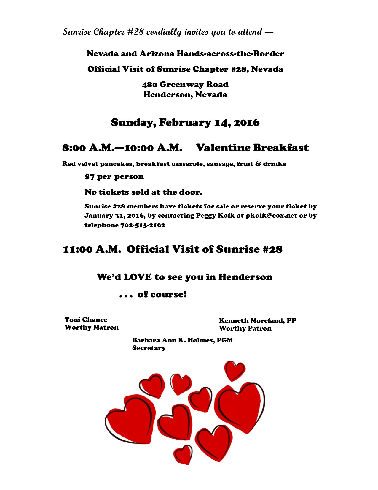 Sunrise Chapter #28 Official Visit and Hands Across the Broder