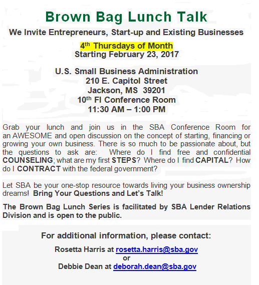 SBA Brown Bag Lunch Talk