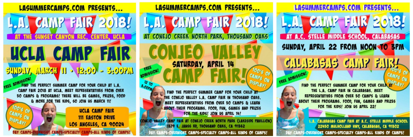 Image of all three L.A. Camp Fair 2018 event locations at UCLA, Conejo Valley and Calabasas