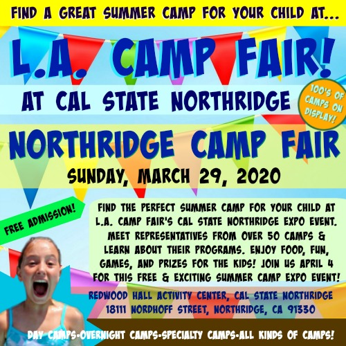 Colorful graphic providing details of the Sunday, March 29 L.A. Camp Fair summer camp expo event on the campus of Cal State Northridge