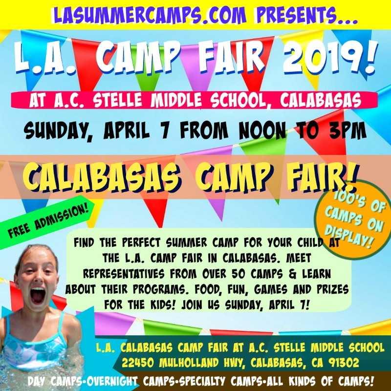 Square image promoting L.A. Camp Fair's Sunday, April 7, 2019 Camp Fair event at A.C. Stelle Middle School in Calabasas.