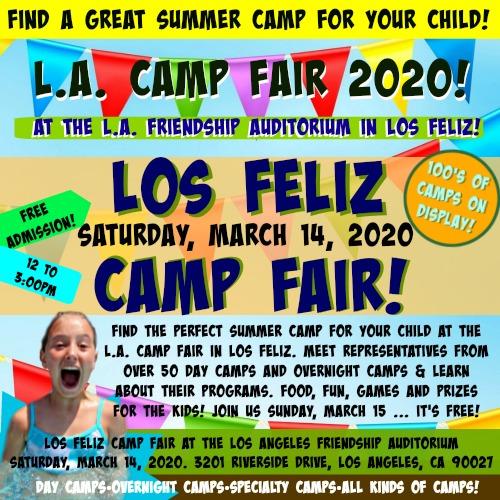 Square 500x500 image promoting L.A. Summer Camp Fair's Saturday, March 14 camp fair event in Los Feliz,