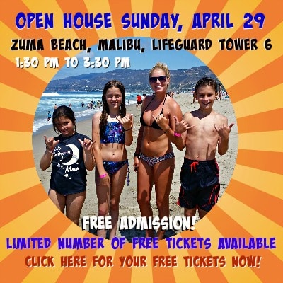 Three campers and High Action Camp Director Claire Hay giving the hang loose sign at Zuma Beach and promoting the camp's April 29 open house.
