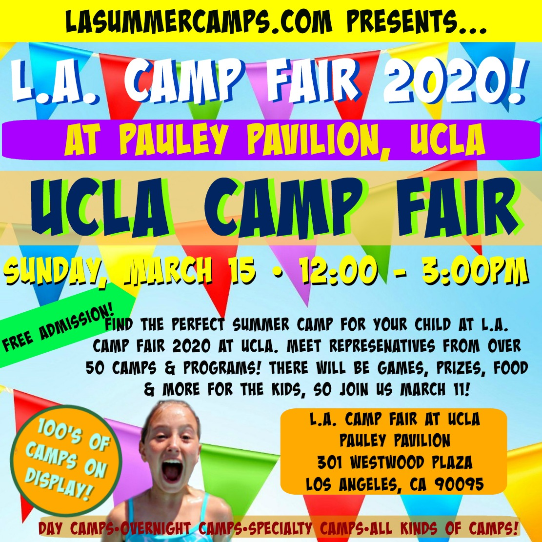 Square image promoting L.A. Camp Fair 2020 at UCLA on Sunday, March 15, 2020