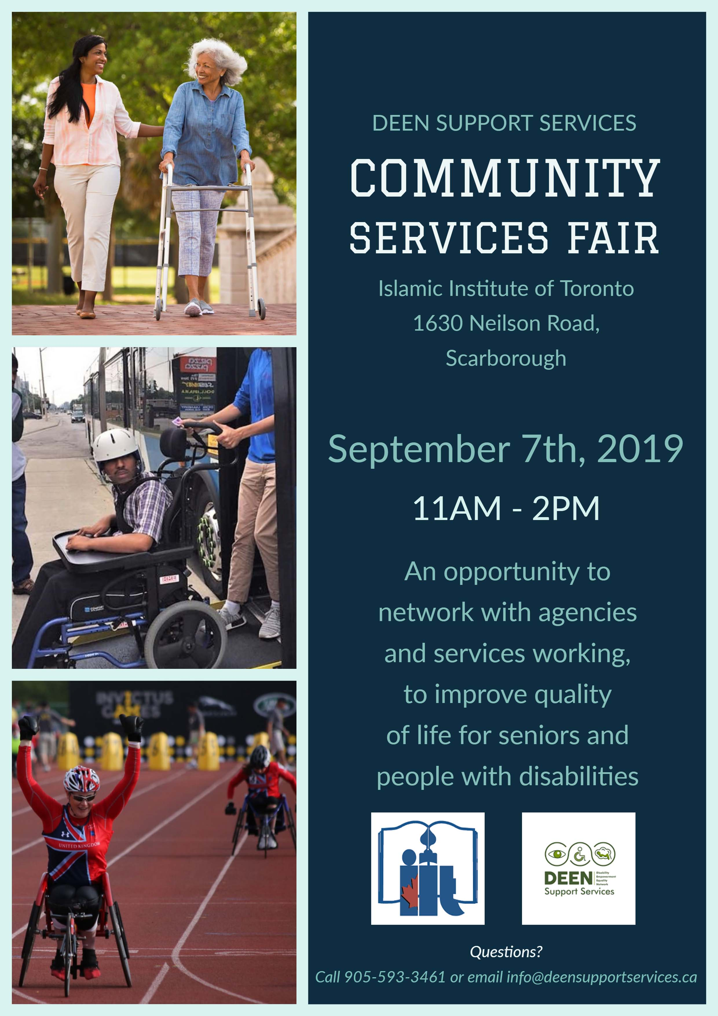 DEEN Support Services invites you to the Community Services Fair Taking place at Islamic Institute of Toronto, 1630 Neilson Road, Scarborough  On September 7th 2019 from 11AM - 2PM