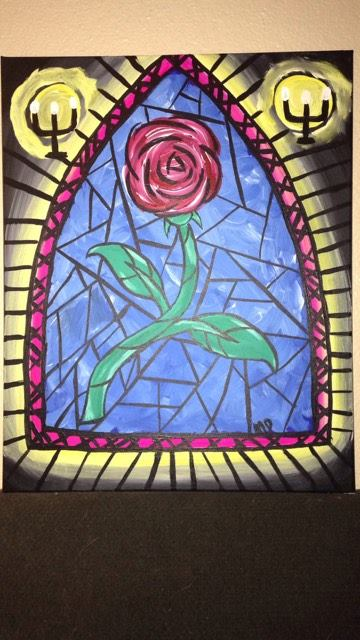 Paint 39 n sip beauty the beast rose under glass byob for Rose under glass