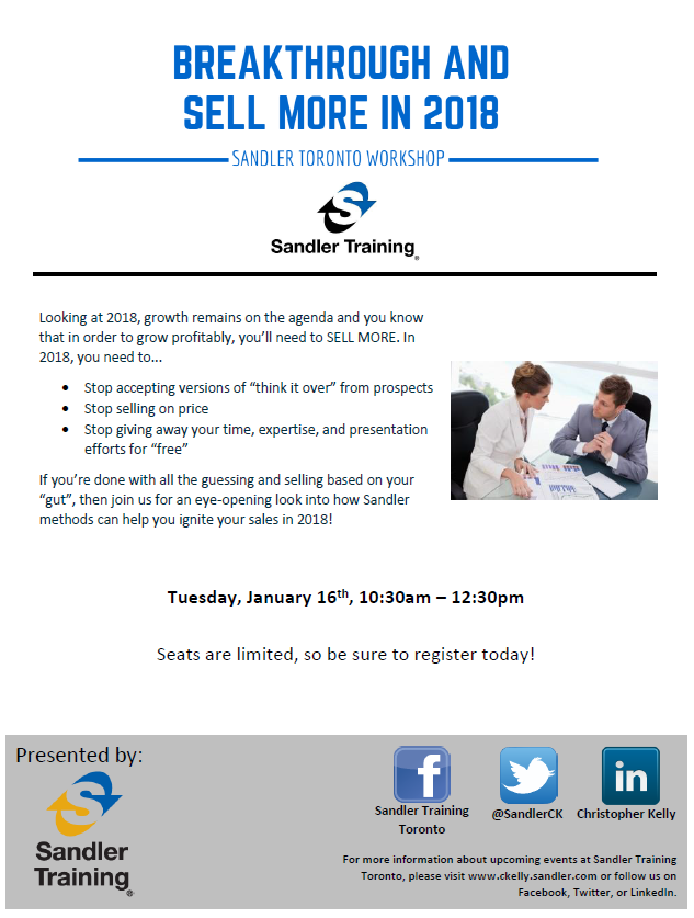 Breakthrough and Sell More in 2018 Flyer