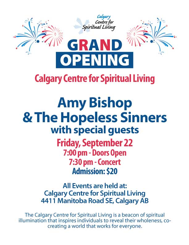 Calgary Centre for Spiritual Living GRAND OPENING CONCERT - Spet 22, 2017