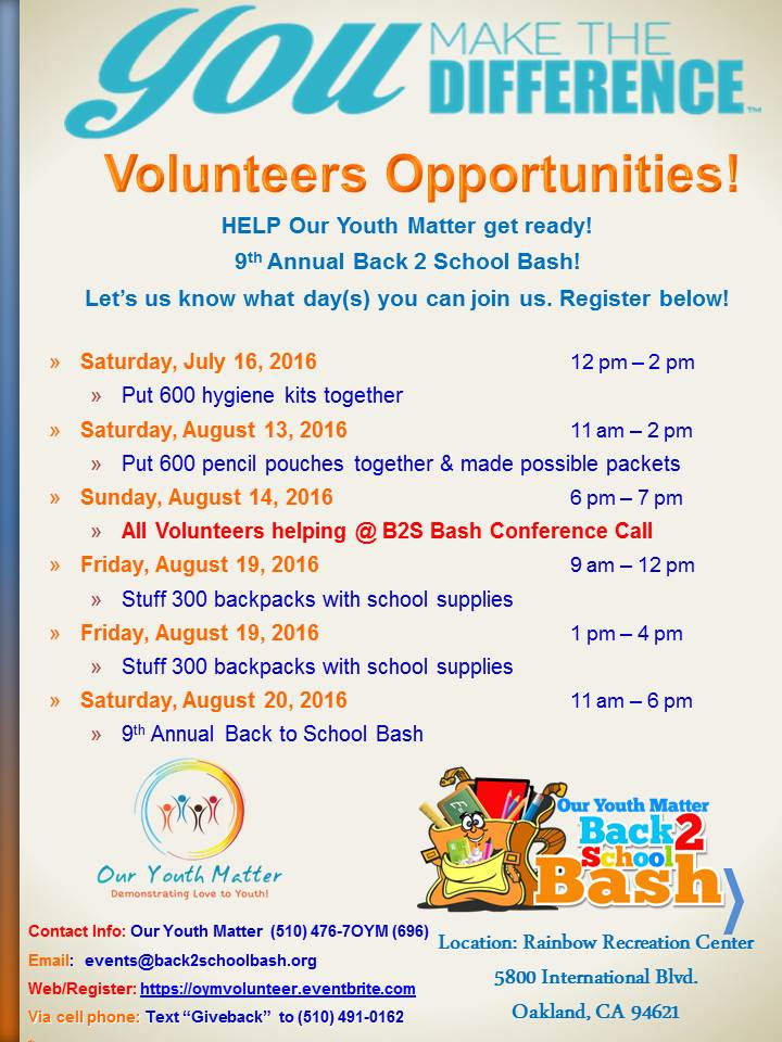 Volunteer dates flyer