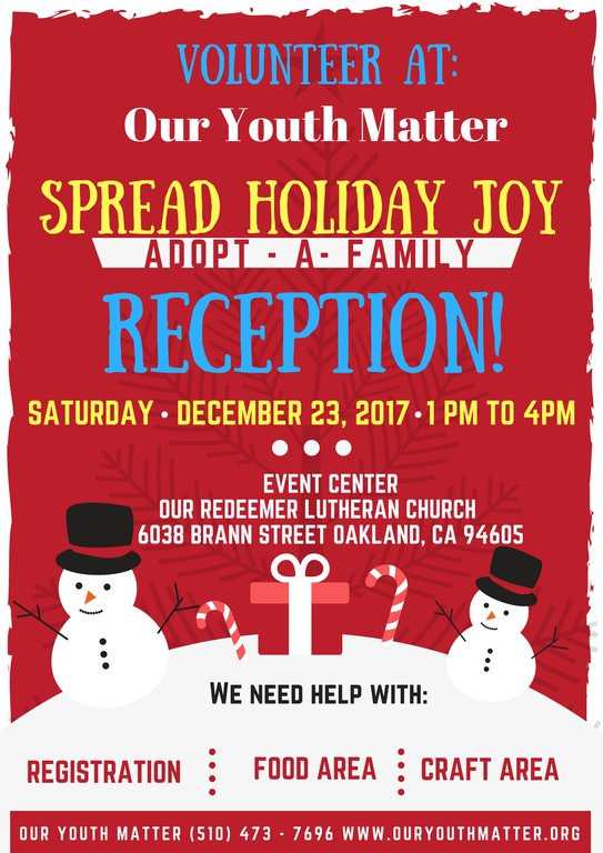 Adopt A Family Reception Flyer