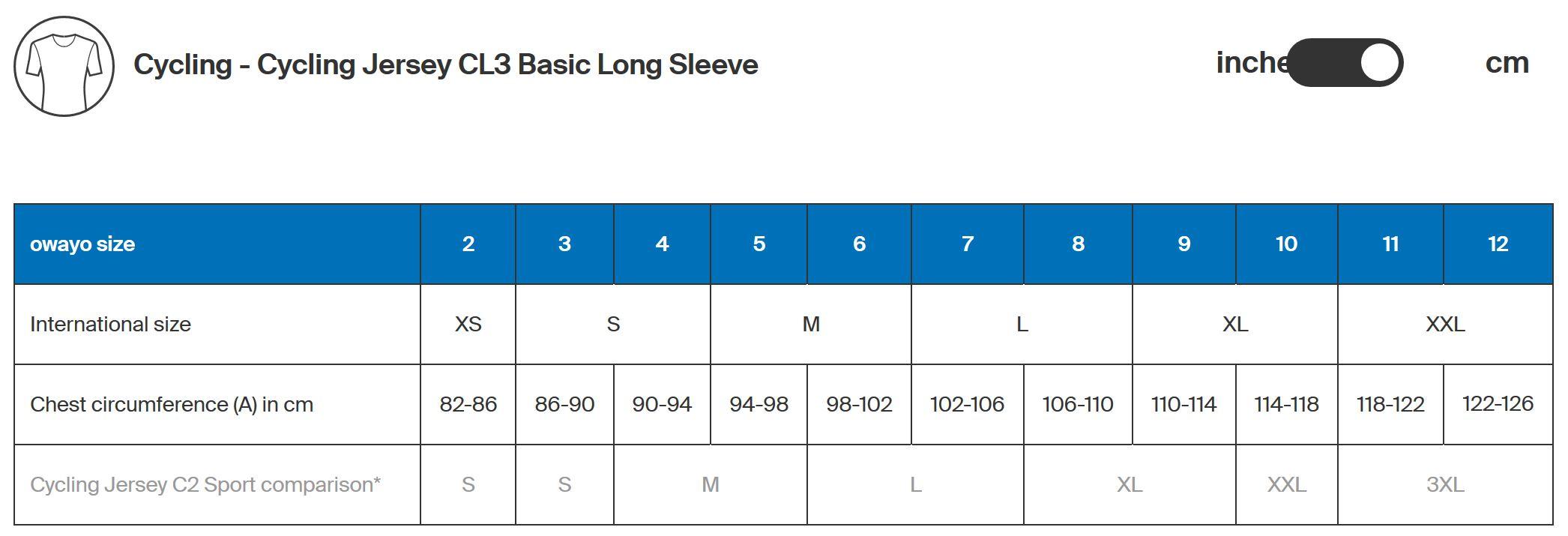 Owayo Size Guide