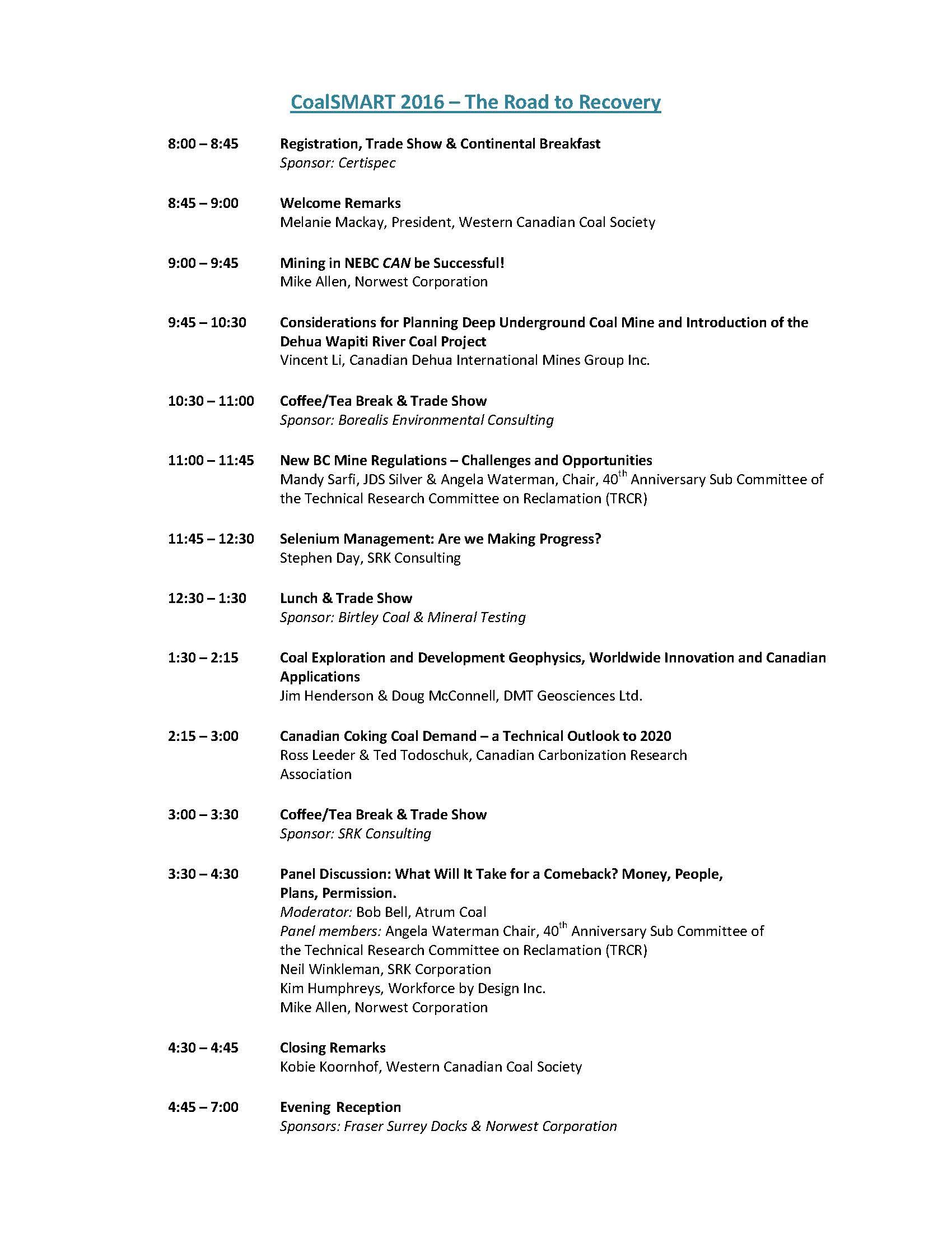 CoalSMART 2016 Agenda