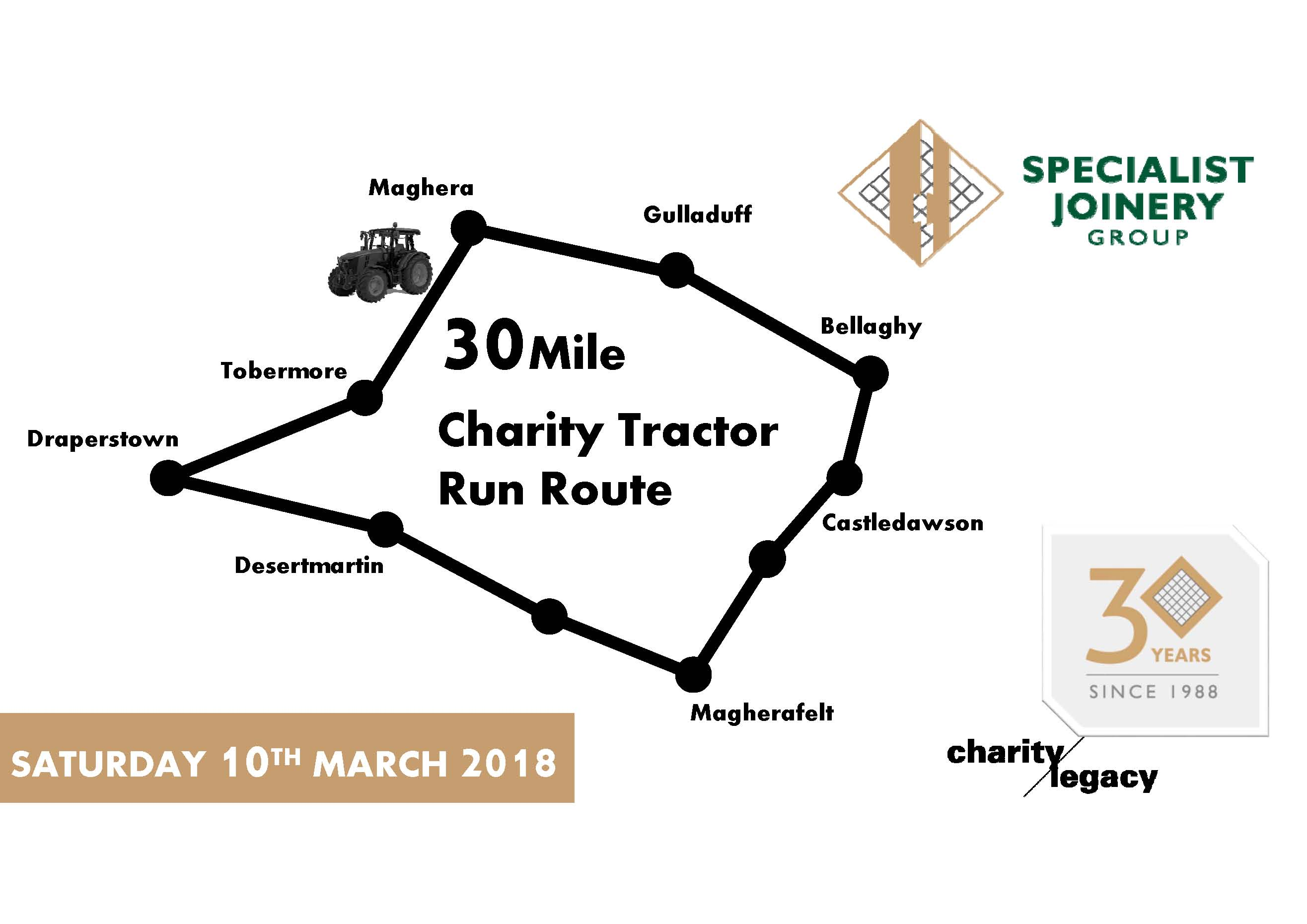 Specialist's Charity Tractor Run Event Route