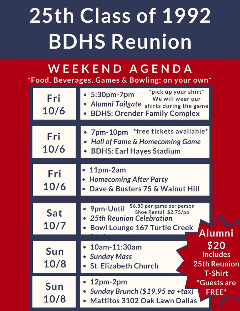 25th Reunion Agenda