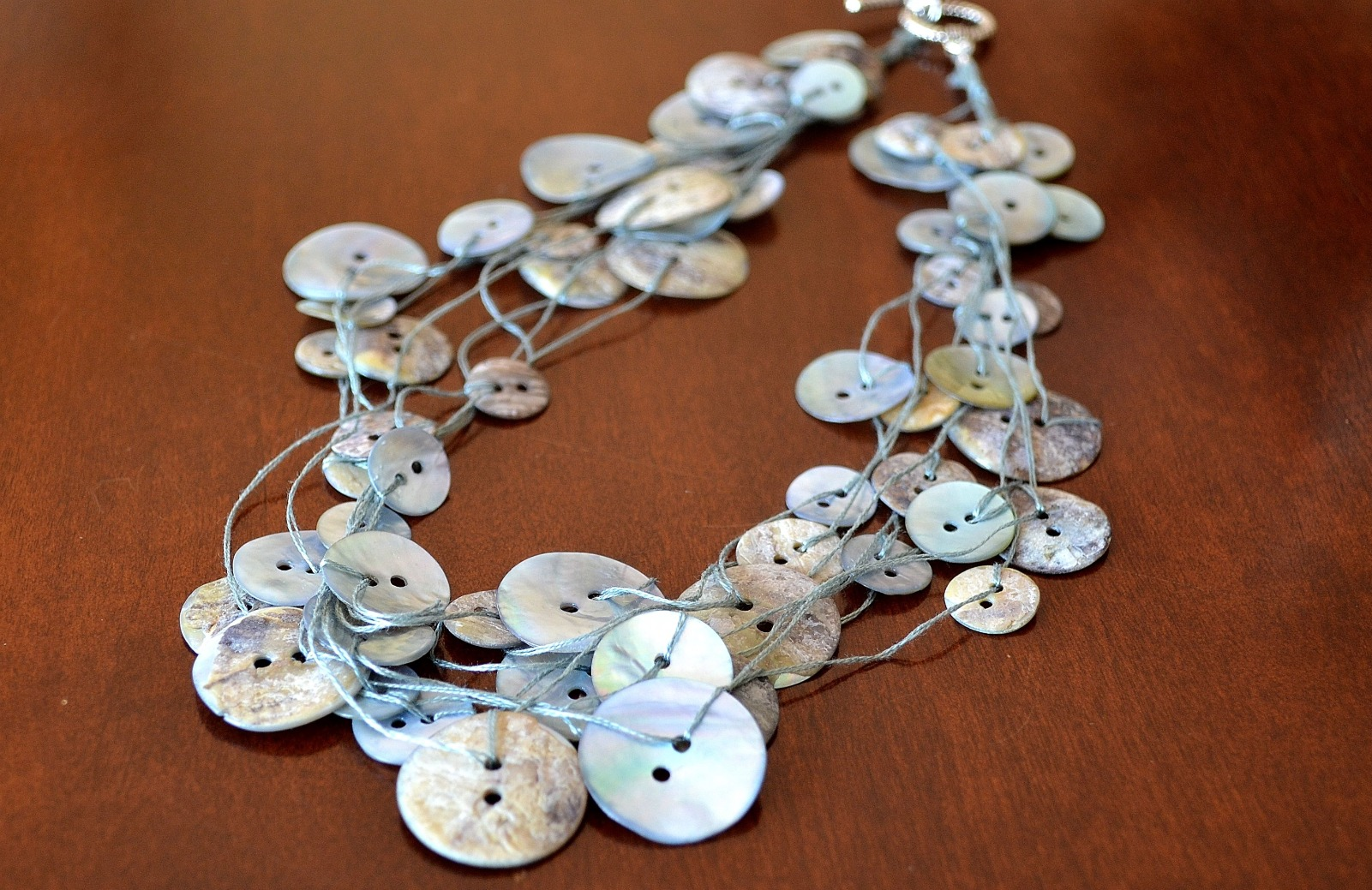 Steel Blue Button Necklace