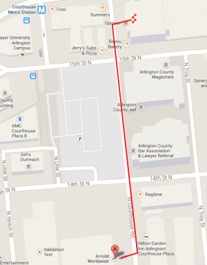 Map from parking garage to 1515 N. Courthouse Road