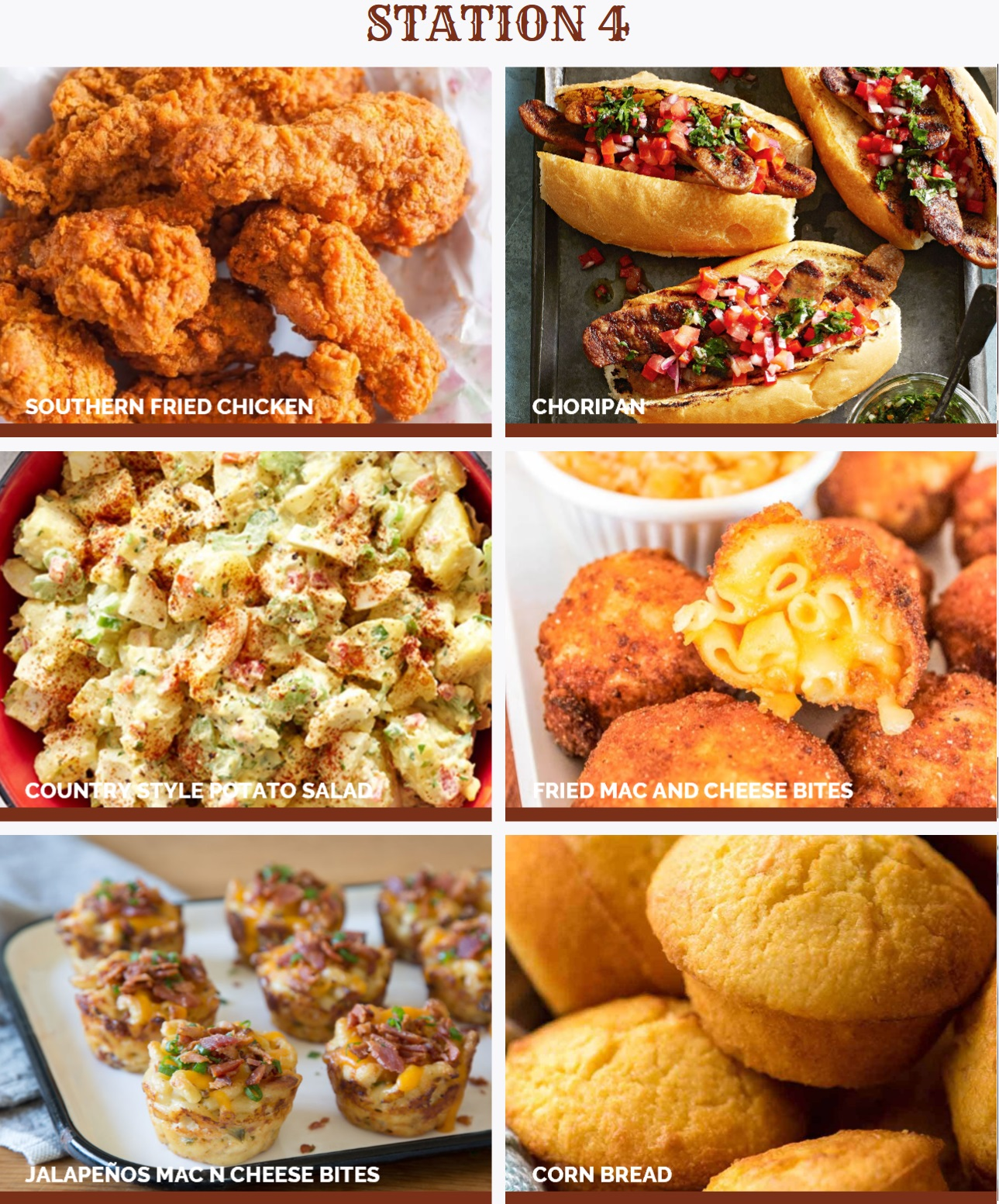 Southern Fried Chicken, Choripan, Country Style Potato Salad, Fried Mac & Cheese Bites, Jalapeño Mac & Cheese, Bites, Corn Bread