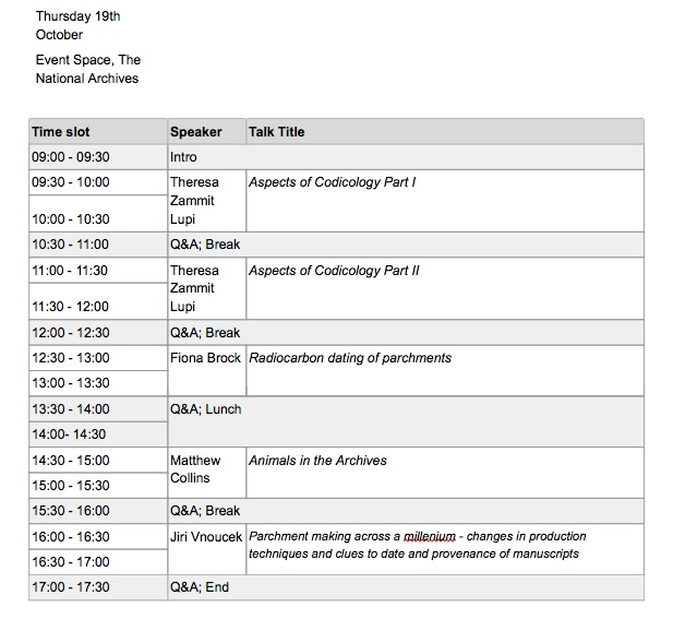 Timetable part 1 for under the skin