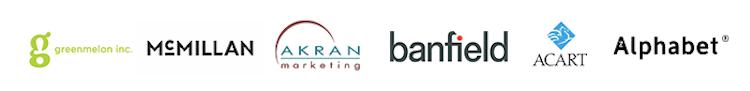 Greenmelon Inc., McMillan, Akran Marketing, Banfield, Acart, and Alphabet Creative logos