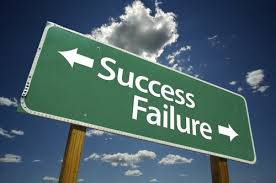 success failure with arrows on green background
