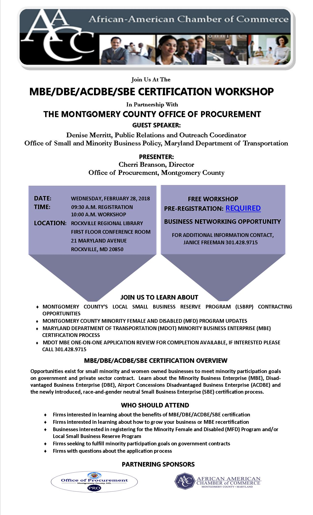 Mdot mbe dbe acdbe sbe certification workshop wednesday montgomery countys local small business reserve program lsbrp contracting opportunities xflitez Images
