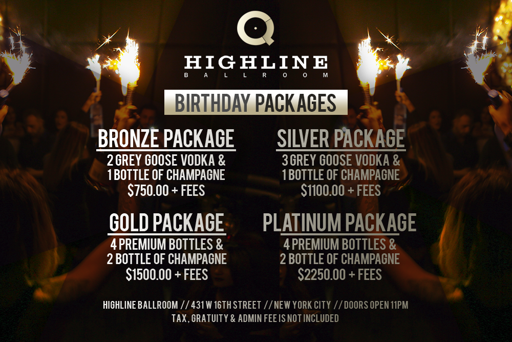 Highline Ballroom Saturdays - Bottle Package Menu