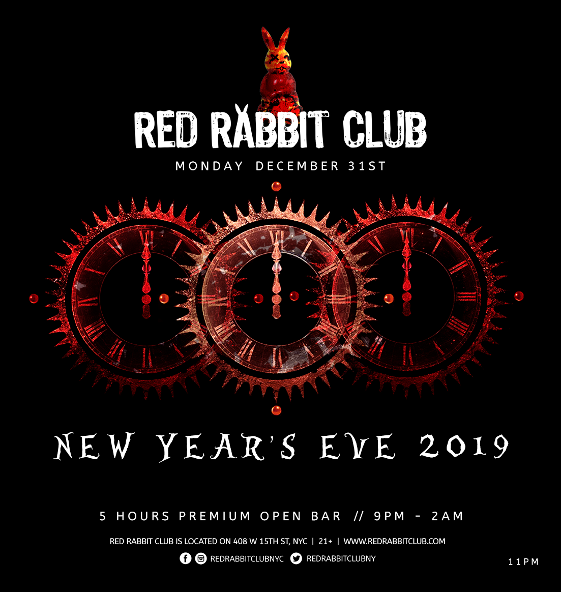 Red Rabbit Club - New Year's Eve 2019 - 5 Hours premium open bar