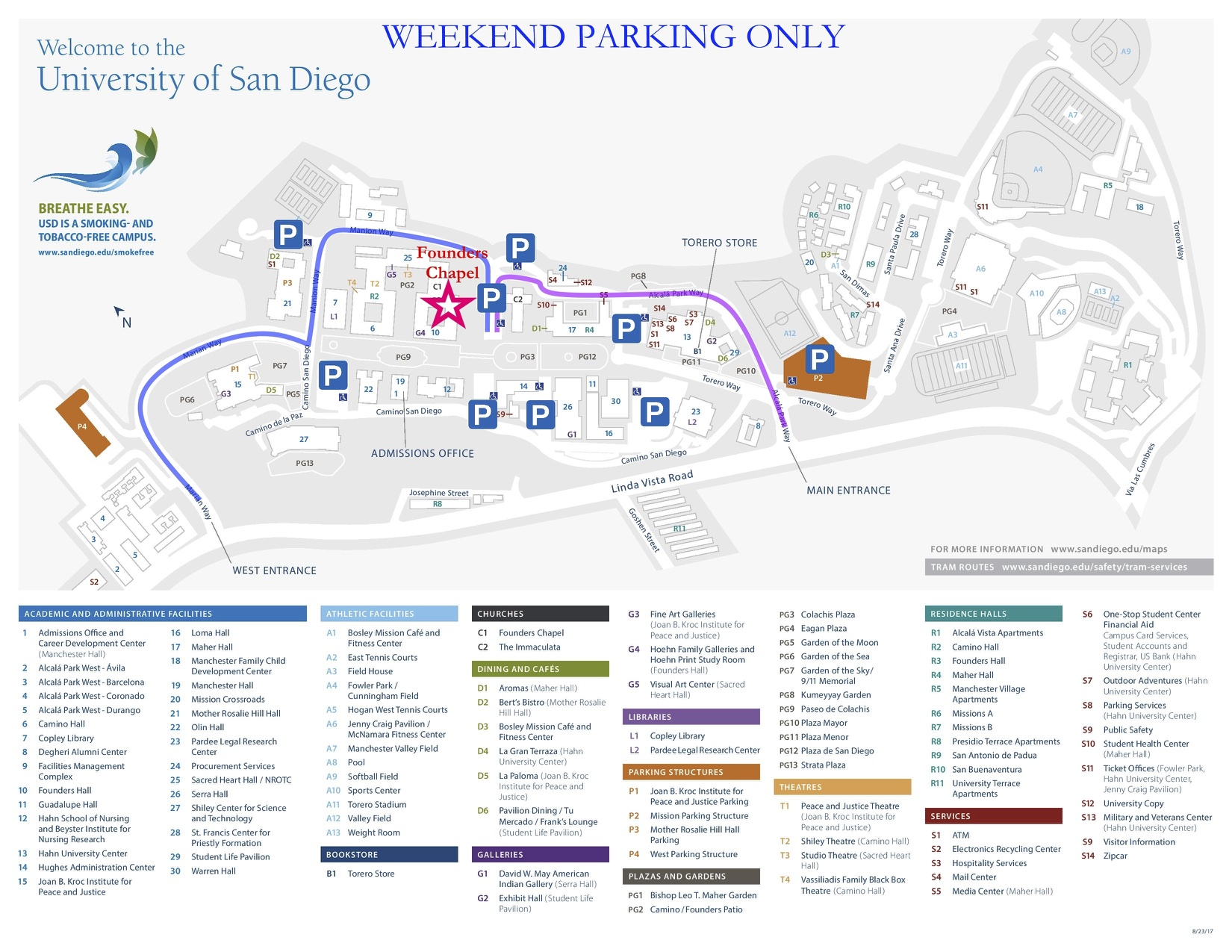 Campus driving directions and parking structures