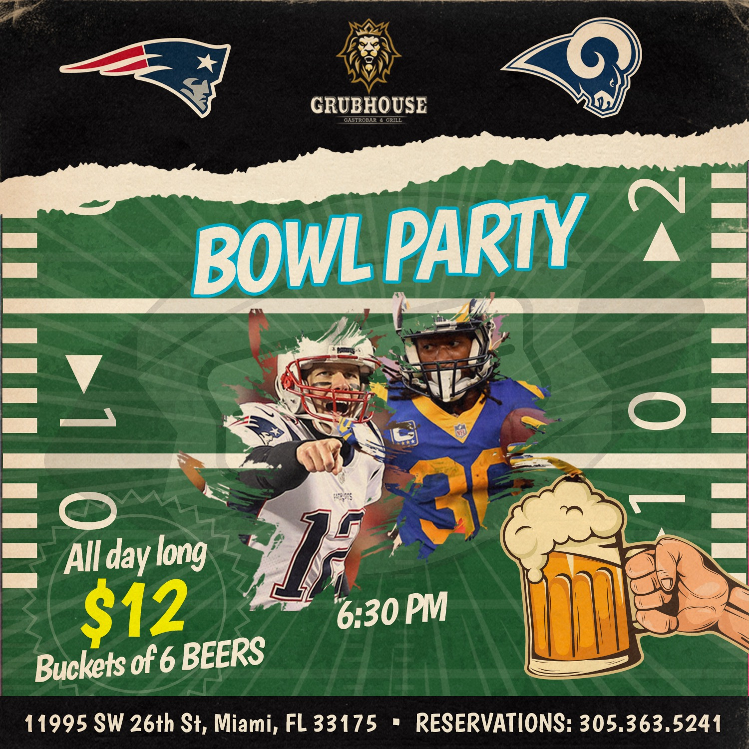 Don't miss out on the big game nor our bowl party deals this Sunday at GrubHouse Miami!  Enjoy $12 buckets with 6 beers and 2 for 1 draft beers! For reservations, please call 305.363.5241.  We'll see you on game day!