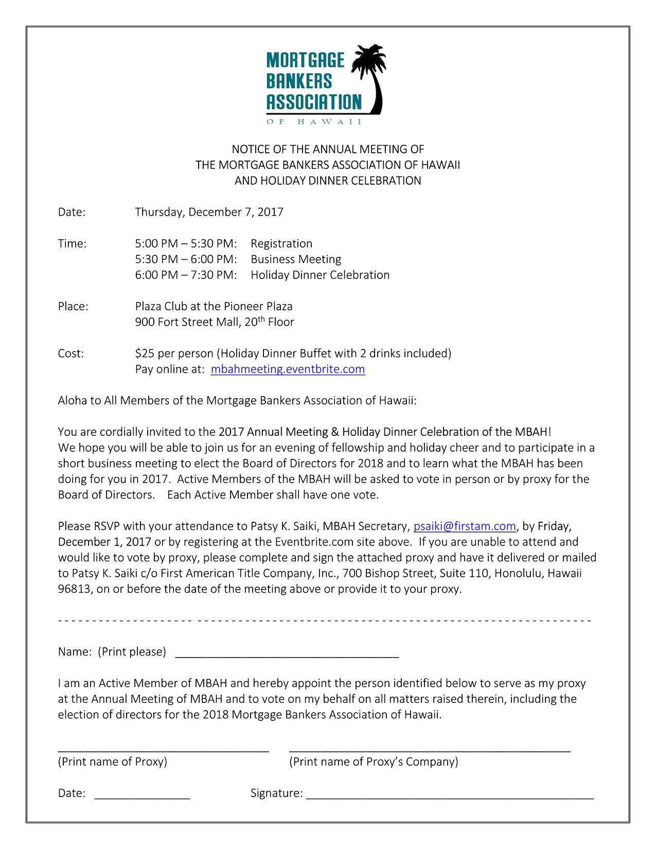 2017 Annual Membership Meeting Notice