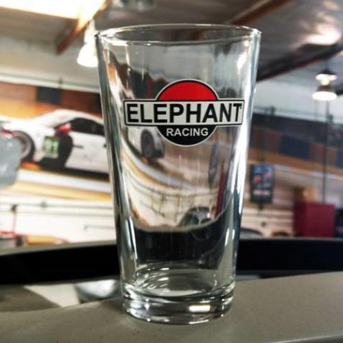 Elephant Racing Pint Glass
