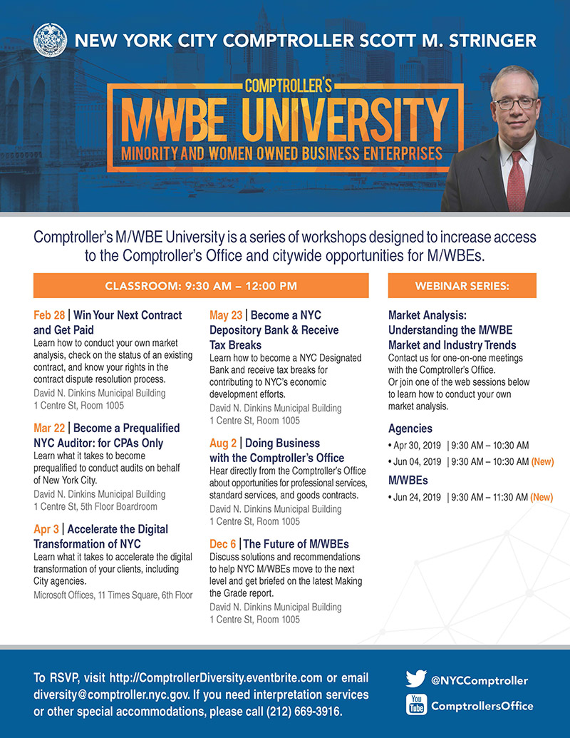 MWBE Comptroller's University Flyer