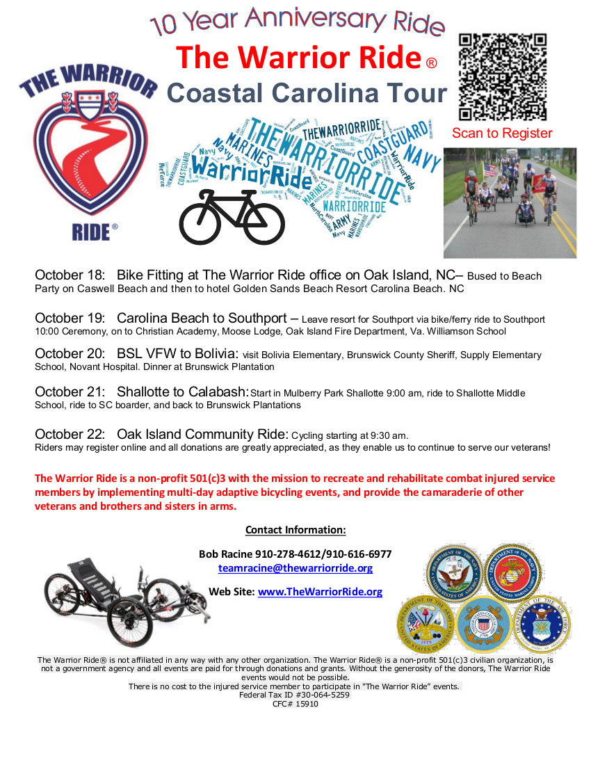 The Warrior Ride coastal carolina ride 10 year anniversary