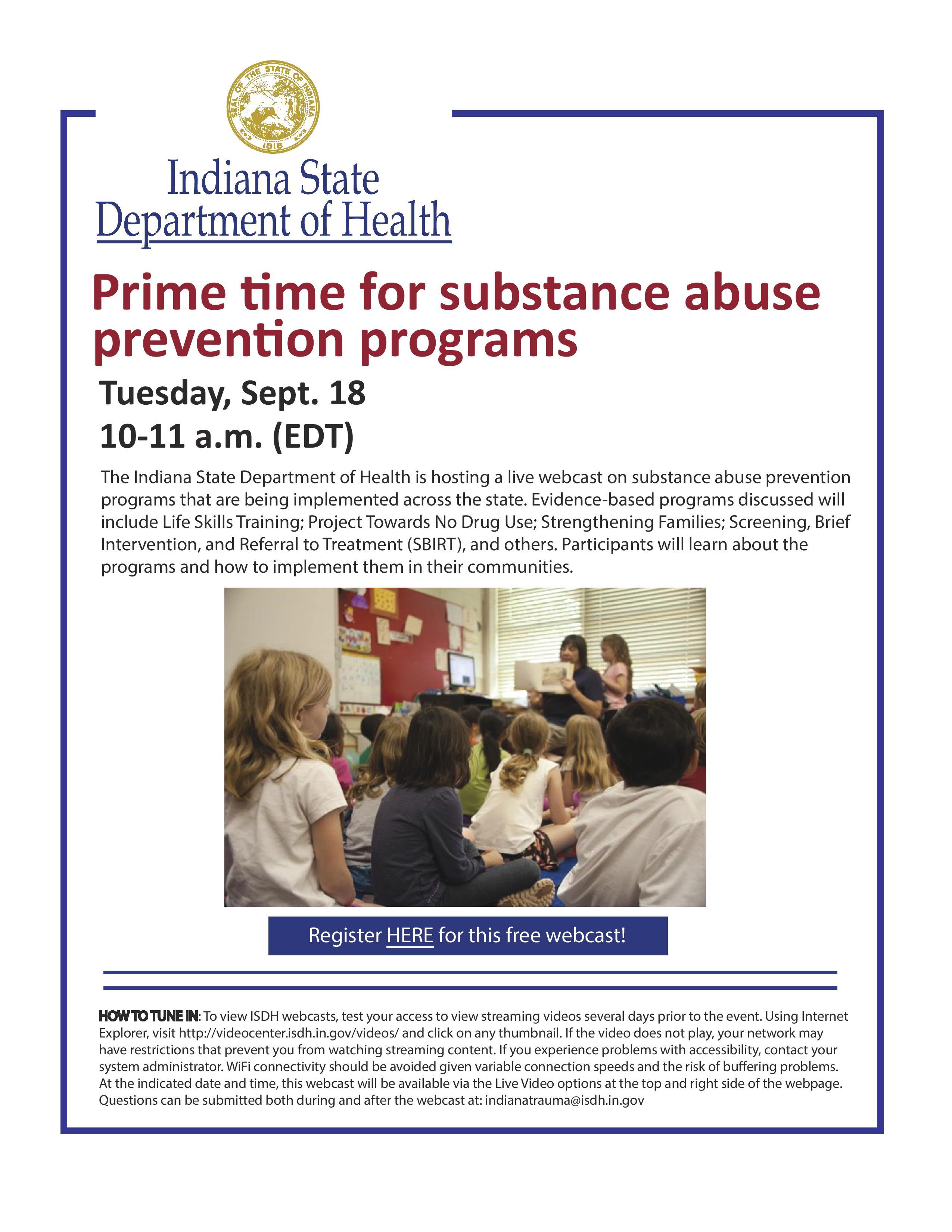 ISDH prevention programs webcast
