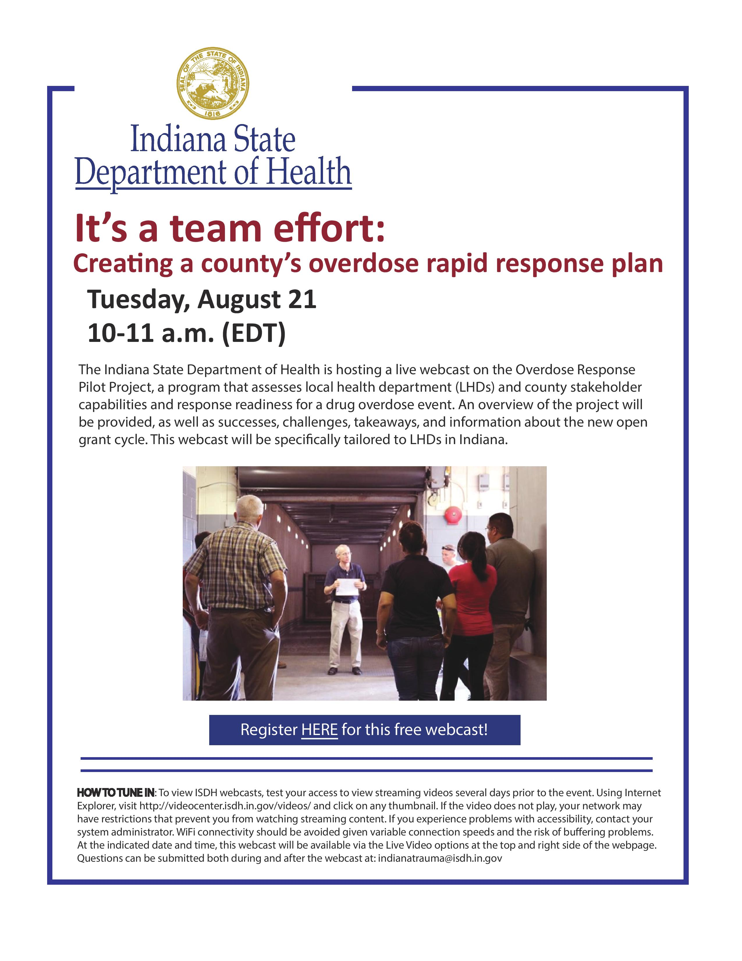 ISDH overdose response project webcast