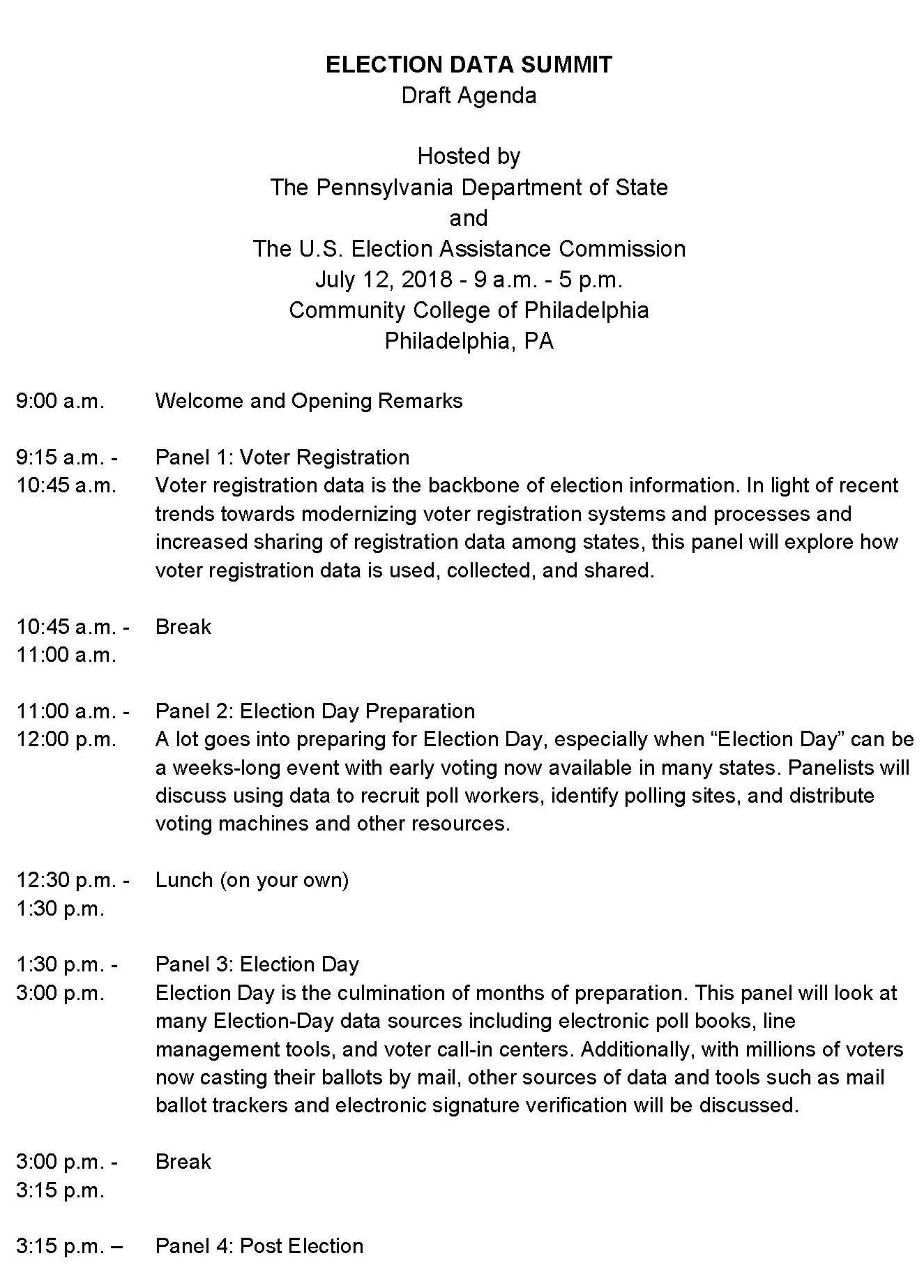 Election Data Summit Draft Agenda Page 1