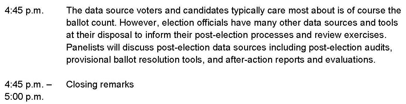 Election Data Summit Draft Agenda Page 2