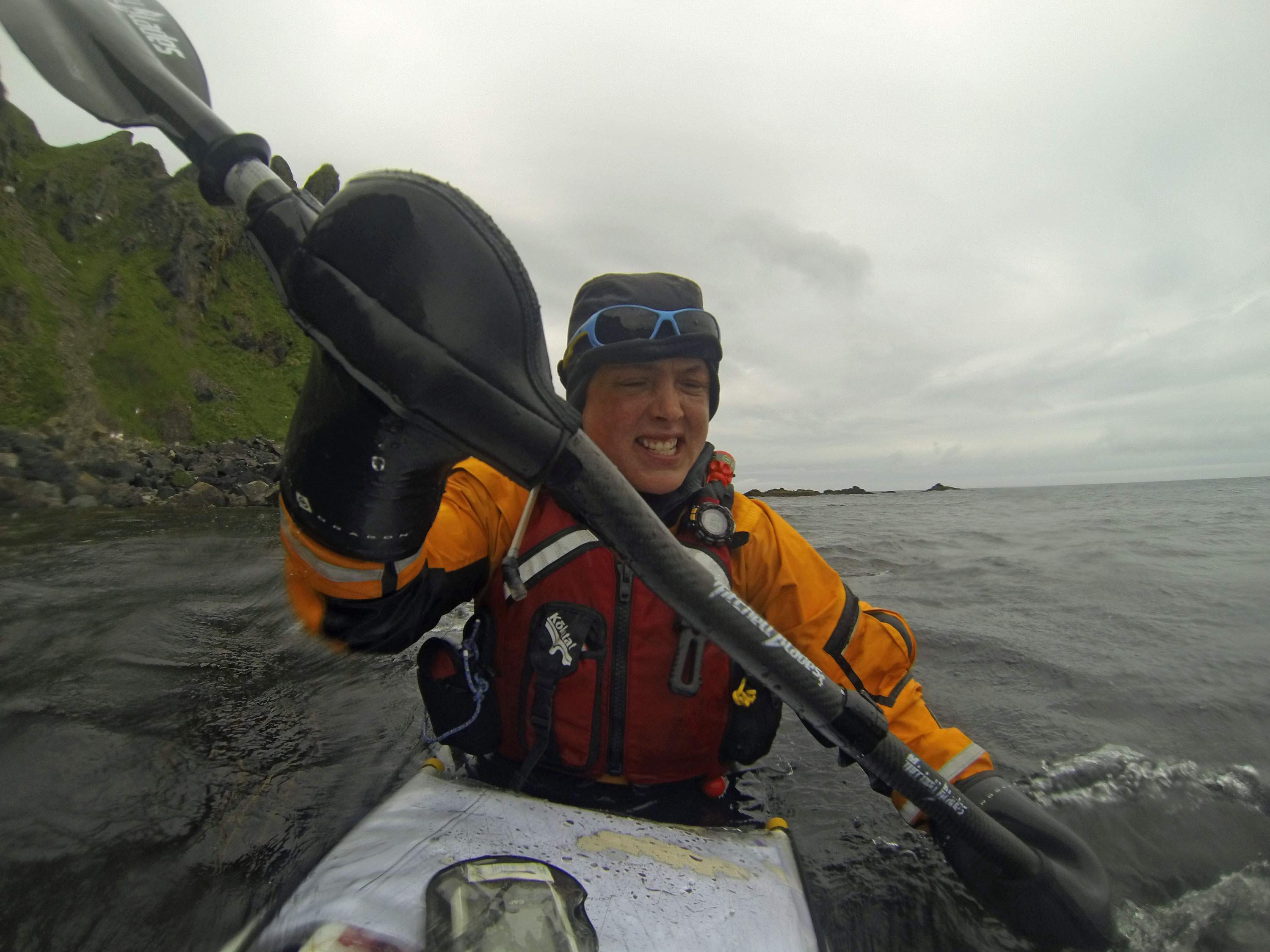 Sarah Outen Paddling into the wind in the Aleutians