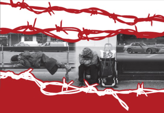 Barbed wire graphic over picture of two homeless people on and by a bench by a bus stop.