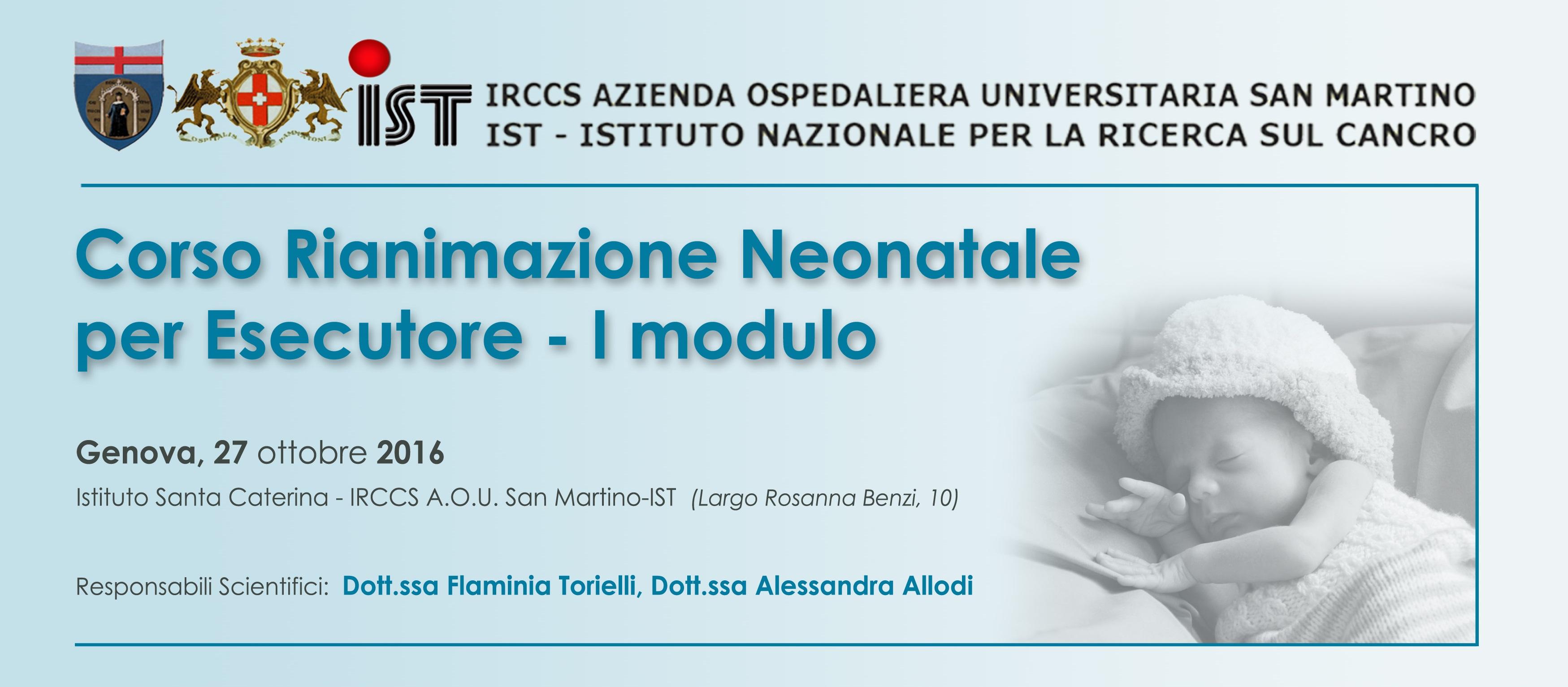 Corso di Rianimazione Neonatale con Simulazione ad alta Fedeltà - I modulo - Genova, 27 Ottobre 2016