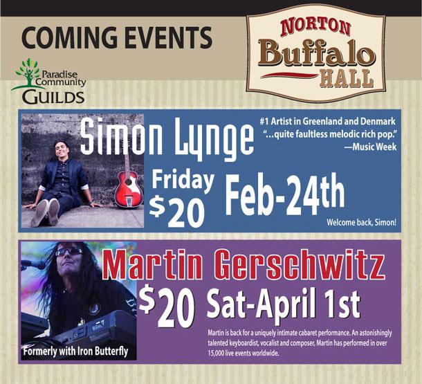 Upcoming events at Norton Buffalo Hall