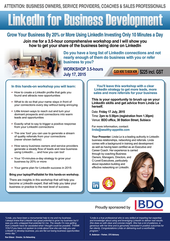 Linda Le LinkedIn Training Perth