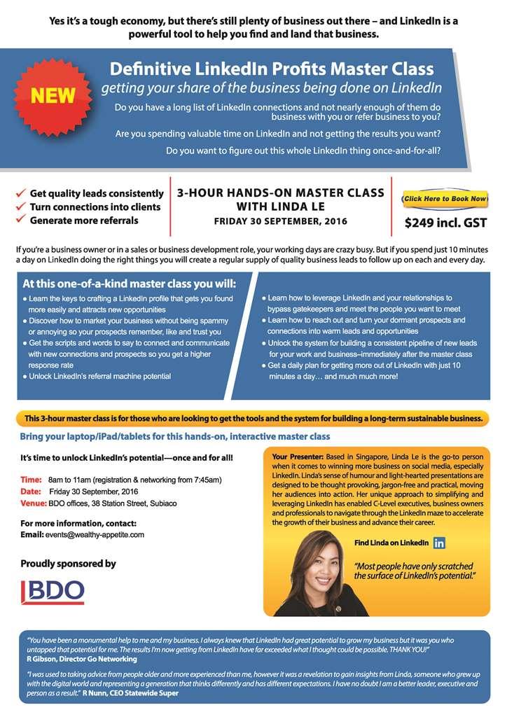 LinkedIn Profits Master Class Linda Le