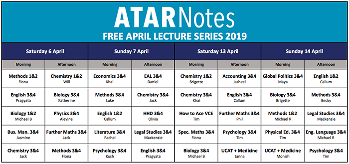 April lectures timetable.