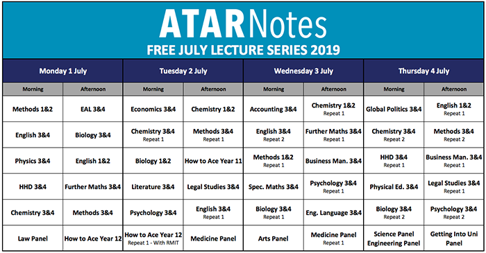 July lectures timetable.