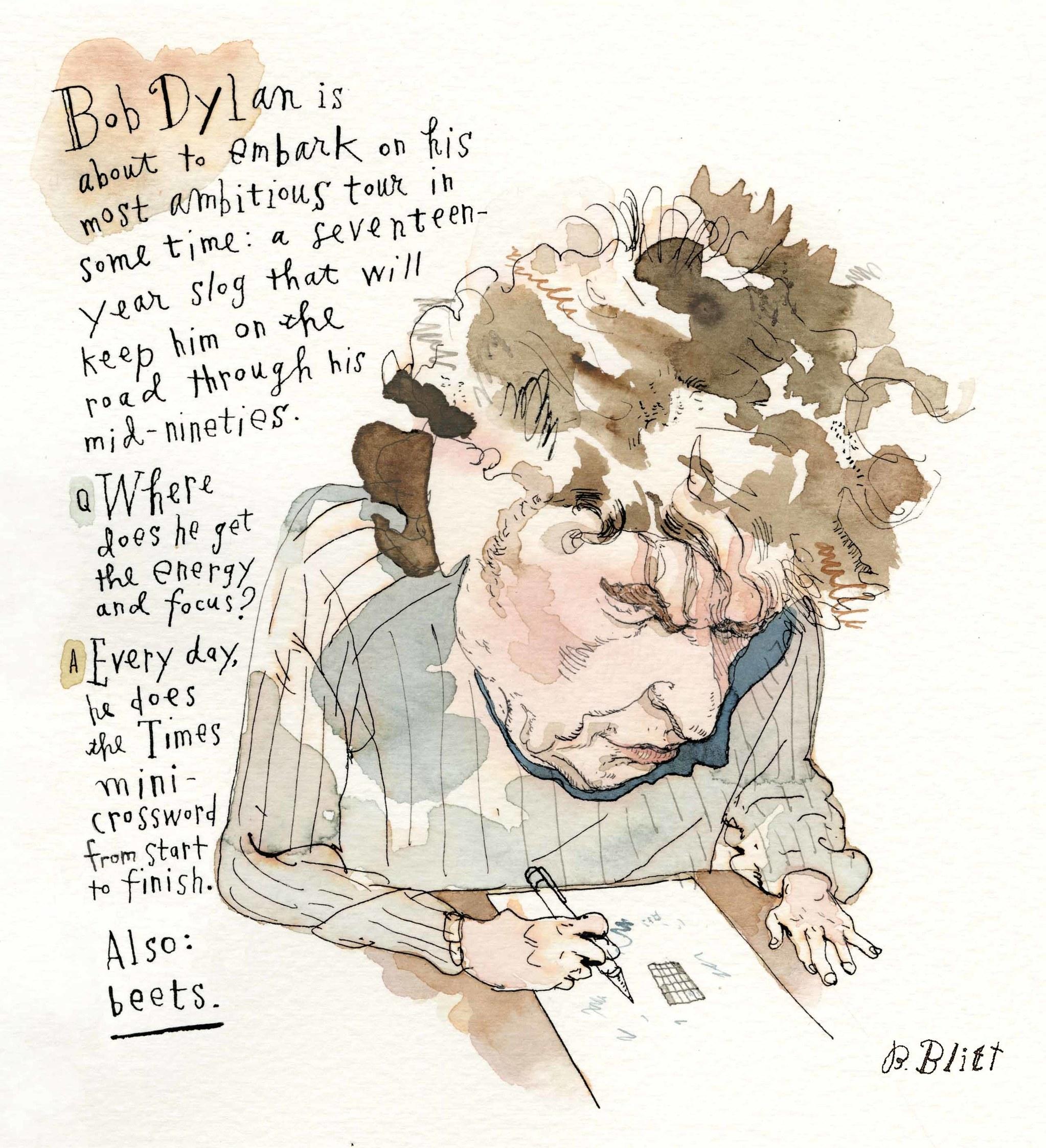 Barry Blitt Cartoon of Bob Dylan doing the New York Times Mini Crossword