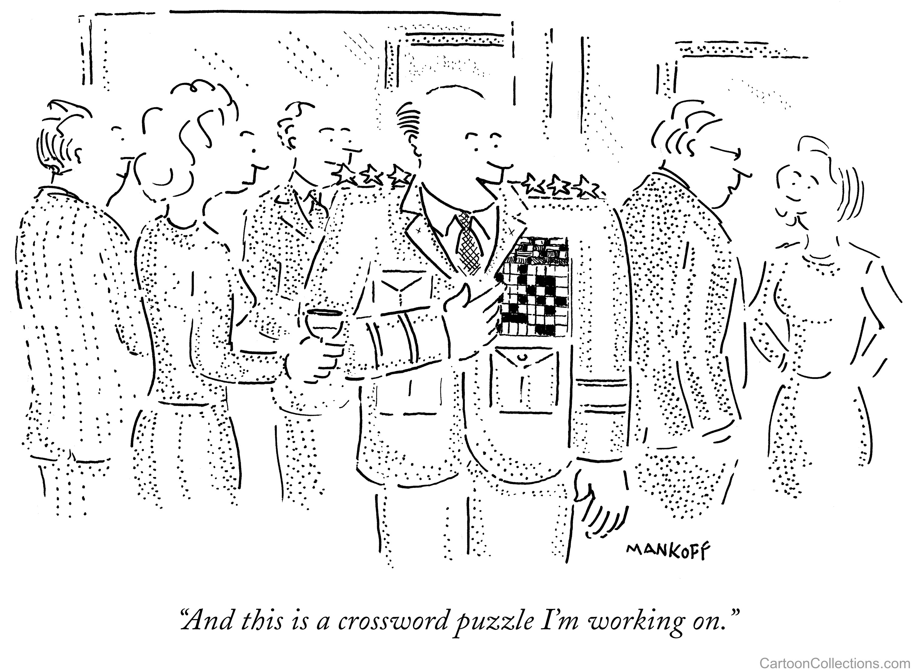 New Yorker Cartoon of a general with a crossword in place of his service ribbons and the caption