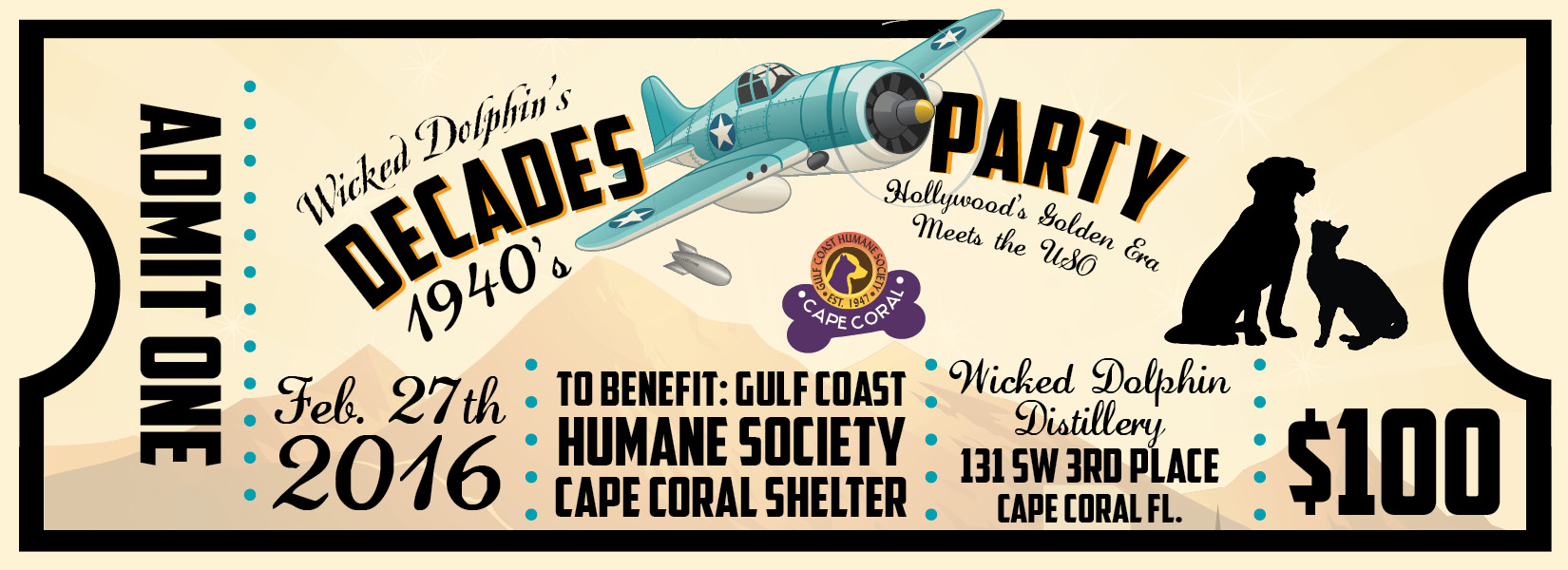 Wicked Dolphin Decades Party Ticket-Front