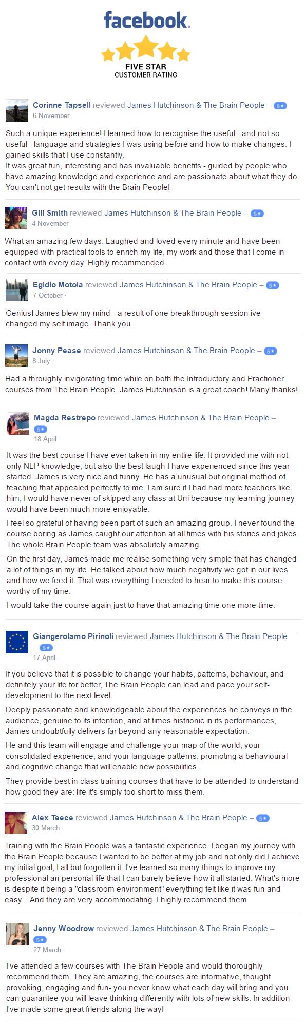 Some Recent Facebook Reviews