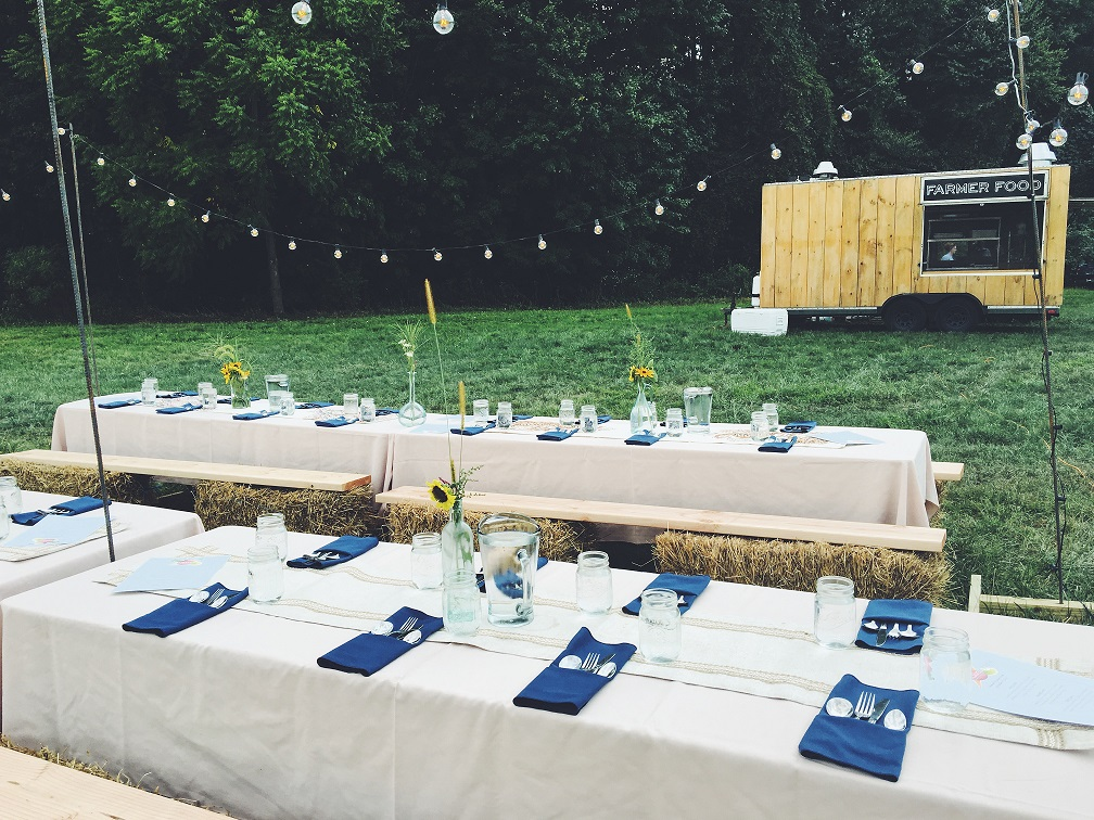 Tables set at the farm
